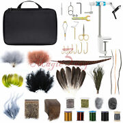 Fly Tying Kit Fly Tying Material Tools Feather Fur Thread Vice Plier Scissors