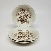 Three Vintage Royal Staffordshire Charlotte Brown Berry Bowls Clarice Cliff