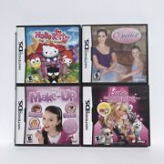 Nintendo Ds Bundle 4 Game Barbie Groom And Glammy Ballet My Make Up Hello Kitty