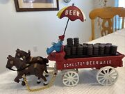 Vintage Schultz Beer And Ale Cast Iron Horse And Wagon