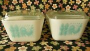 Two / 2 Pyrex Amish Butterprint Turquoise White 502 Refrigerator Dishes W /lids