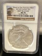 2013-s American Silver Eagle First Strike Struck At San Francisco Ngc Ms70