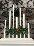 Vintage Noma Style C7 Staggered 7 Candle Candolier Classic Ivory W Holly Deco