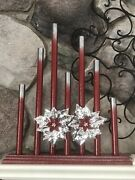 Vintage Noma Style C7 Staggered 7 Candle Candolier Red Silver Tips W Decoration