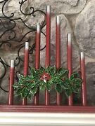 Vintage Royal Style C7 Staggered 7 Candle Candolier Candelabra Red Silver Tips