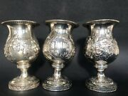 414g 3 Antique 1915 Reed Barton Sterling Chased Repousse Golf Stems Goblets 4.5