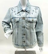 Old Navy Womenand039s Light-wash Embroidered Cutwork Jeans Jacket Choose Size New