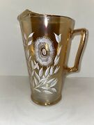 Vintage Amber Depression Glass Pitcher Hand Painted White Flowers Perfect