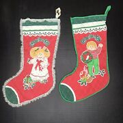 Vintage Handmade Quilted Christmas Stockings Cabbage Patch Kids Set Boy Girl