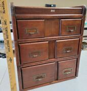 Antique Weis 6 Drawer Stacking Card Catalog Wooden Cabinet