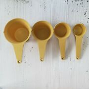 Vintage Foley Measuring Cup Set 4 Pc Harvest Gold Plastic Fall Home Cups