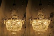 A Pair Antique Vnt Austria And Real Crystal Chandelier Lamp 1950s 21in