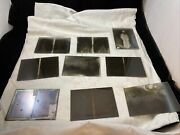 Lot Of 9 Glass Photo Negatives Double Image Slides, Circa 1910, Dry Plate Glass