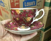 Dark Red Chintz Royal Albert Old Country Roses Ruby Lace