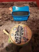 Vintage View-master 3d Model Blue Works Childrens Toy With 34 Slides And Case