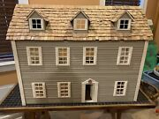 Wooden Wood Doll House Hand Made Gray White 40 Years Vintage Charming