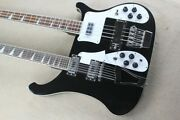 Double Neck 12+4 Strings Black Body Electric Guitar And Bass With Chrome Hardwar