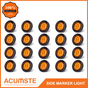20pc Amber 2 Round 9 Led Side Marker Clearance Light Kit / Grommet / Wire Plug