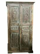Antique Artistic Carved Cabinet Rustic Blue Patina Organic Accent Armoire