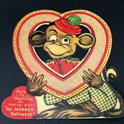 Vintage 30s 40s Valentines Day Card Mechanical Moving Eyes 6.75 Large Heart