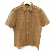 Prorsum Collection Men Shirt Short Sleeve Lace Embroidery Size 46 Brown