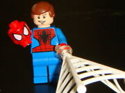 Lego Minifigure Peter Parker Unmasked Spiderman With Web