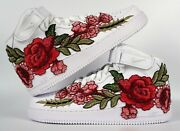 🌹 Nike Air Force 1 07 Mid Red Rose Flower Floral White Custom Shoes All Size 🌹