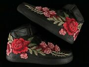 🌹 Nike Air Force 1 07 Mid Red Rose Flower Floral Black Custom Shoes All Size 🌹