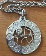 """Large Sterling Silver Zodiac Pendant Featuring Sagittarius On 24"""" Chain Germany"""