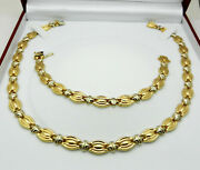 Jewelry Set 14k Two Tone Gold Hollow Necklace And Bracelet 40 Grams Made In Italy