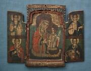 Large Antique Greek Orthodox Icon Mother Of God Triptych 18th Century Greece