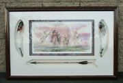 Lithograph Nr 3/50 Huge Indian On Horses With Real Feather And Arrow Brittain 92