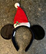 Disney Parks Red Santa Hat Mickey Mouse Ears Headband Excellent