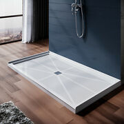 Elegant 60and039and039l X 32and039and039w X 4and039and039h Shower Base Pan White Center Drain Stainless Steel