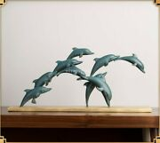 17and039and039bronze Brass Copper Carvings Home Decor Play Games Fish Dolphin Statue