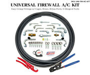 Universal Firewall Ac Fittings Easy Crimp Cage Hose Kit R134a O-rings And Tools