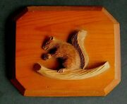 Pine Carving A Squirrel With His Nut 5 X 6 Older Mixed Woods 950s Cen.pa