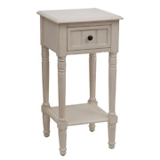 Decor Therapy Square Accent Table Antique White With One Drawer