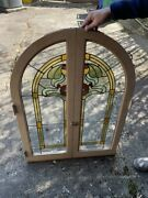 2 Pairs Antique Round Top Stained Glass Built-in Cabinet Doors W/ Latch Art Nouv