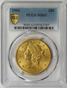 1904 Liberty Head Double Eagle Gold 20 Ms 63 Pcgs Secure Shield