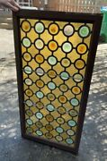 Antique Amber And Colored Roundels Stained Glass Window In Frame