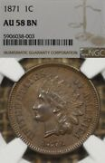 1871 1c Ngc Au58 Indian Head Penny Cent Rare Date Some Red Poking Through