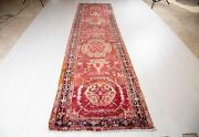 12and039 9 X 3and039 4 Antique Collectible Runner Rug Rustic Faded Red Oriental Carpet