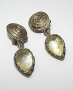 Vintage Signed Graziano Molded Lucite Dangling Clip On Earrings Modernist 2