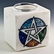 Pentacle White Marble Aroma Lamp Oil Burner - 4x3.25x4.5 Free Shipping