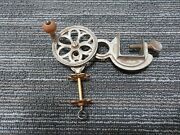 Rare Antique Cast Iron Sewing Clamp W/spool Winder Crank Wheel 1800and039s I4-581