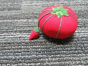Vintage Strawberry And Tomato Pin Cushion 2.5in By 1.5in Cute I1-537