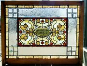 Great Antique Stained Glass Combination Window W Glue Chip Bevel 36 X 46