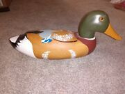 Vintage Carved Wooden Duck Decoy Glass Eyes Hunting Lake House Decor