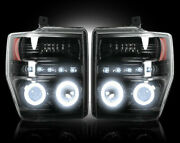 Recon Smoked Projector Headlights Ford Superduty 08-10 Ccfl Technology